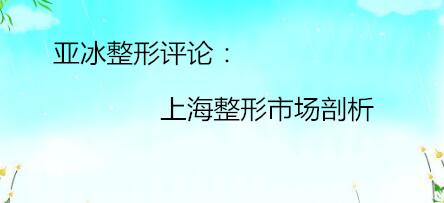 亚冰整形评论:上海整形市场剖析